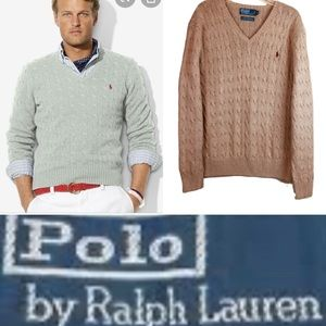POLO RALPH LAUREN 100% Silk Cable Knit Sweater